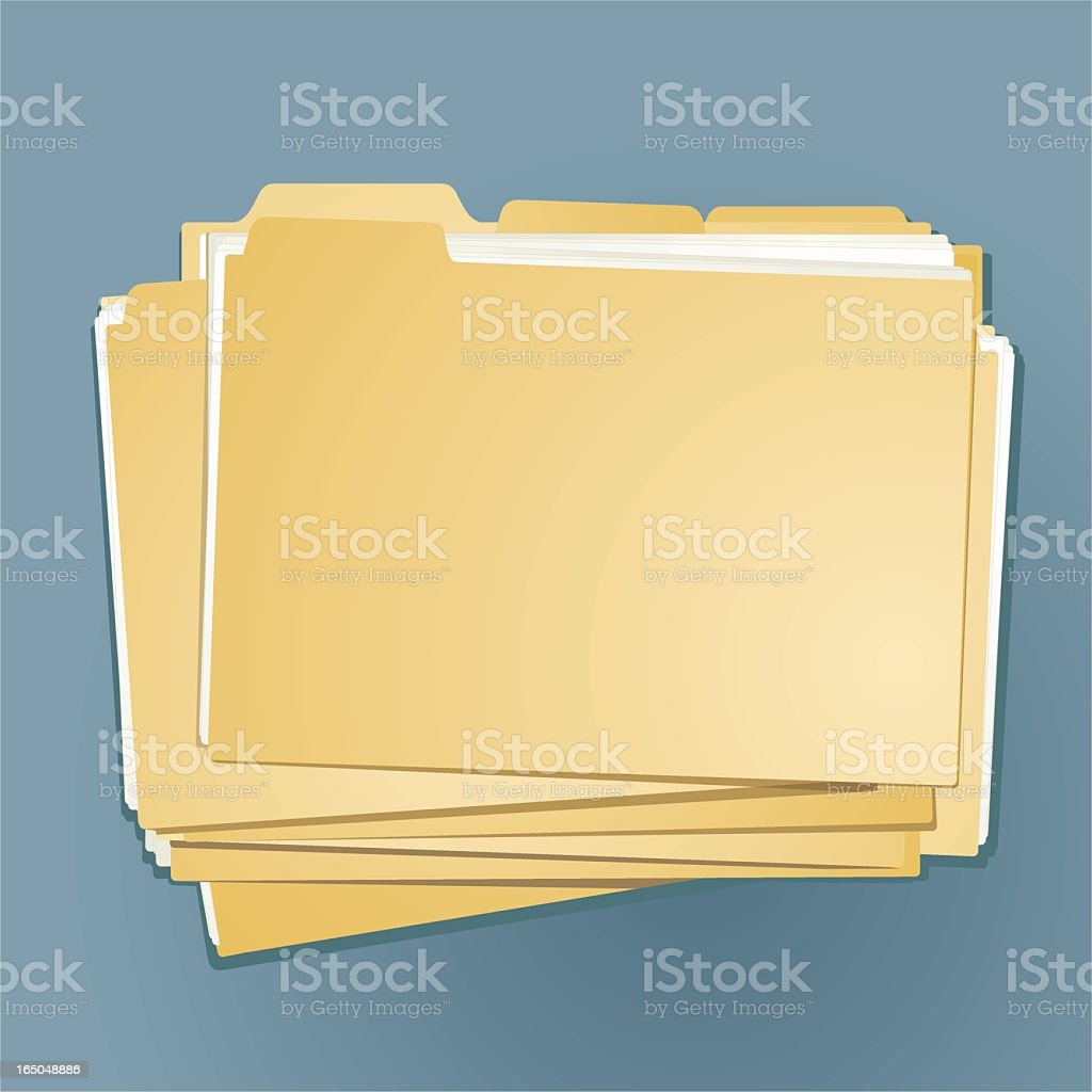 A stack of yellow file folders vector art illustration