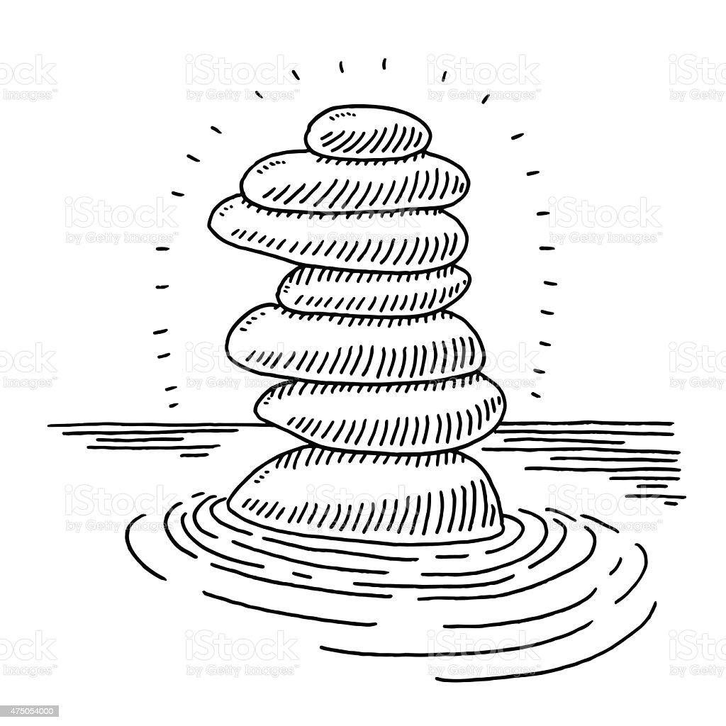 Stack Of Zen Stones In Water Drawing vector art illustration