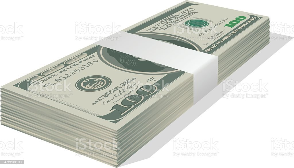 Stacked $100 Bills vector art illustration