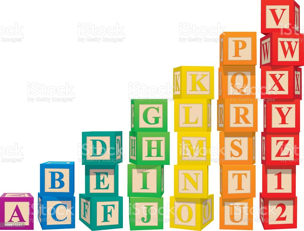Stacked colorful alphabet blocks vector art illustration