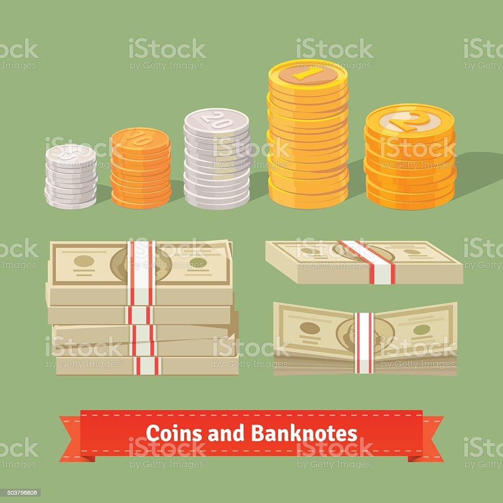 Stacked pile of coins and banknots vector art illustration