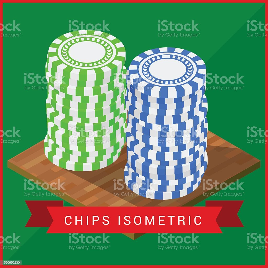 Stacked pocker Chips isometric flat vector art illustration