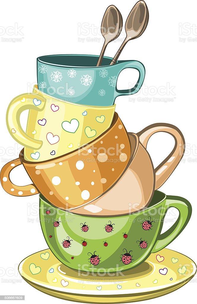 Stacked tea cups vector art illustration