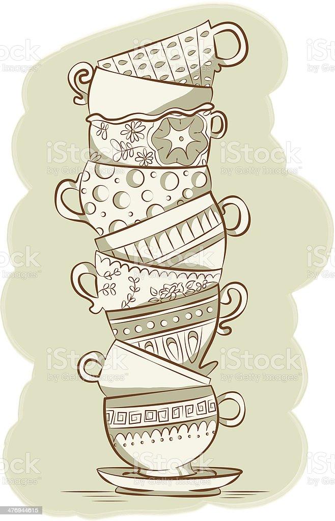 Stacked Teacups vector art illustration