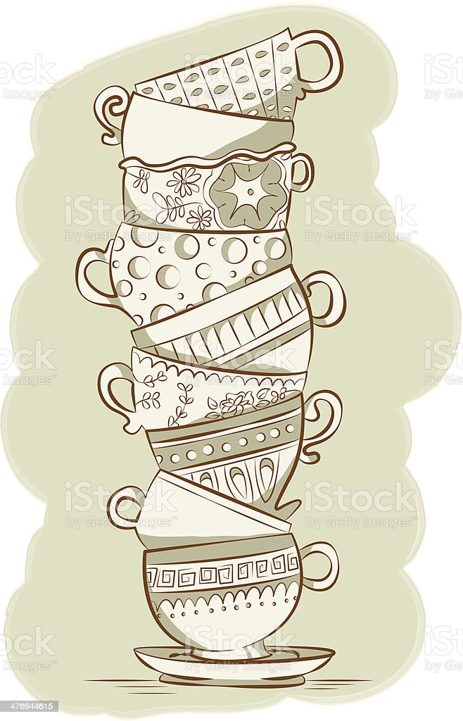 Stacked Teacups vector art illustration