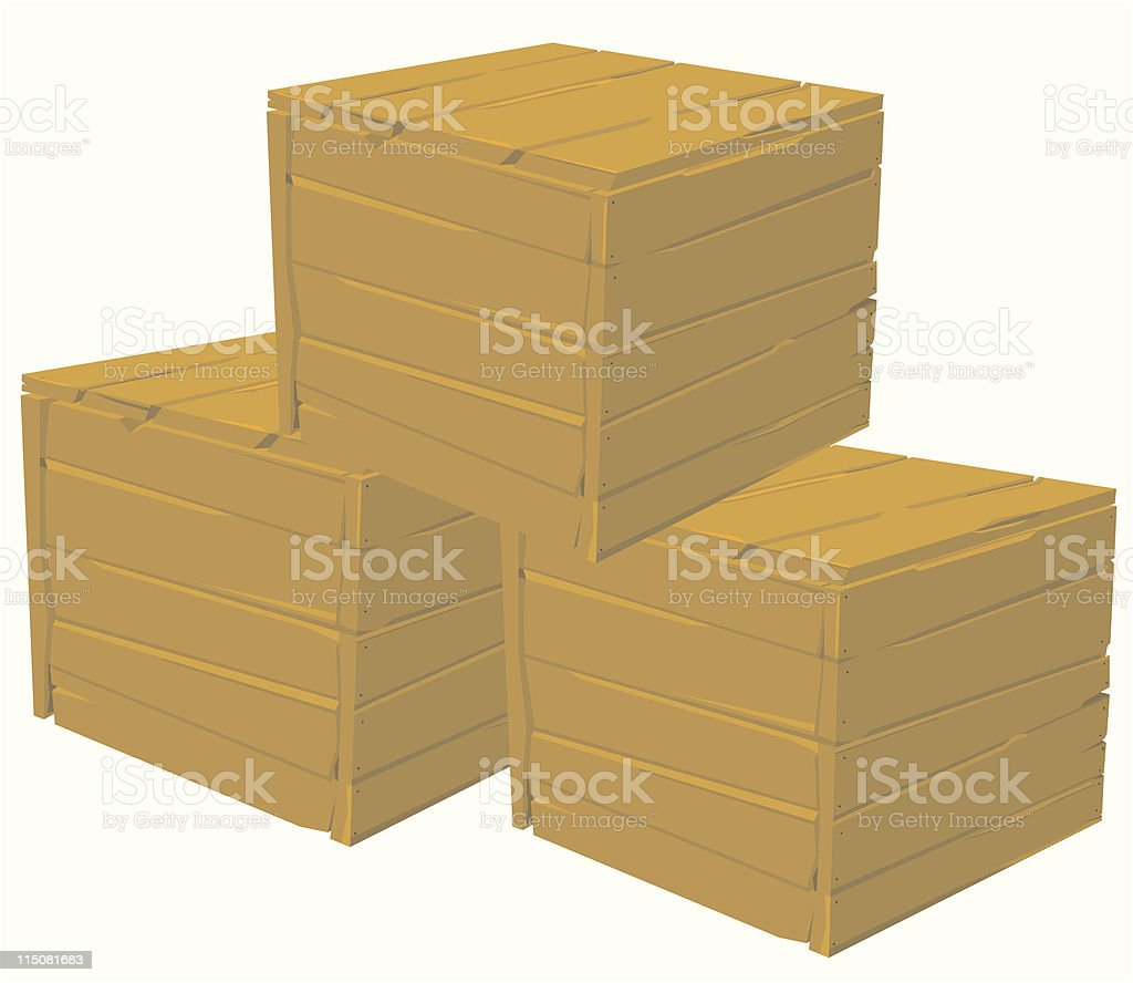 Stacked Wooden Crates royalty-free stock vector art