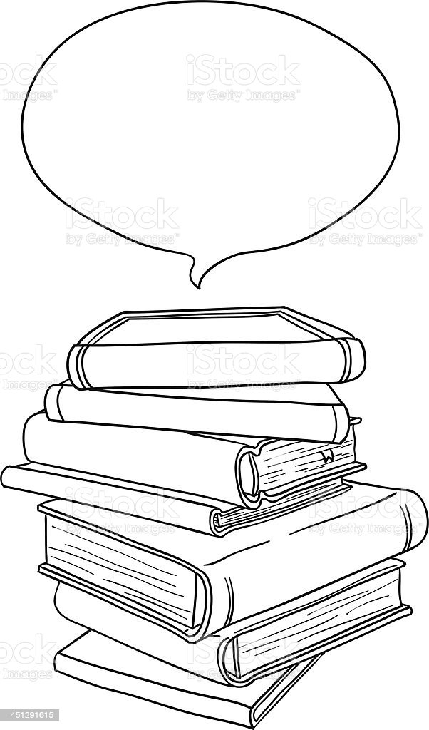 Stacking books in black and white vector art illustration