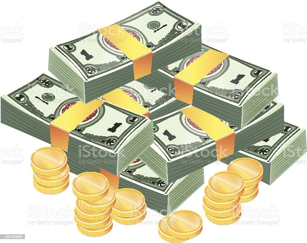 Stacks of coins and banknotes vector art illustration