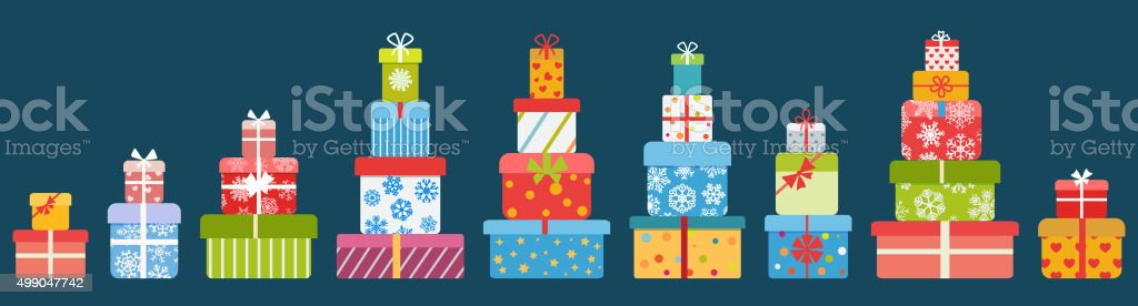 Stacks of gift boxes. Flat design vector art illustration