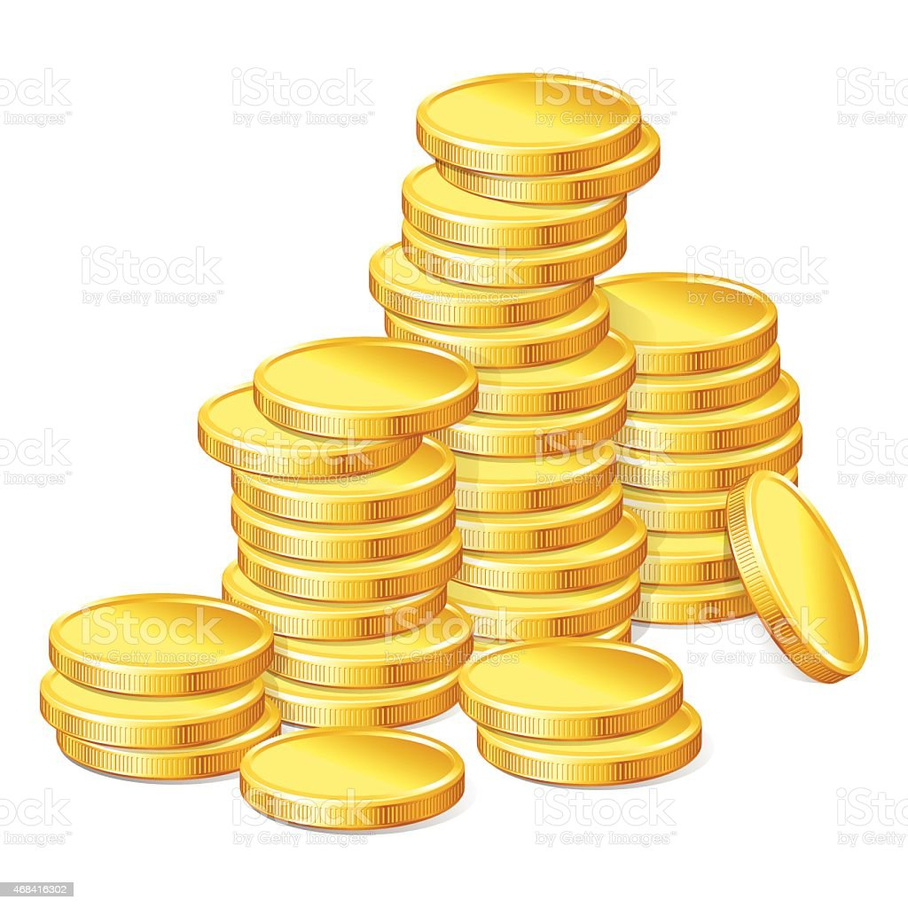 Stacks of gold coins on white background vector art illustration