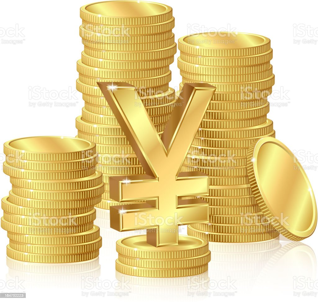 Stacks of gold coins royalty-free stock vector art