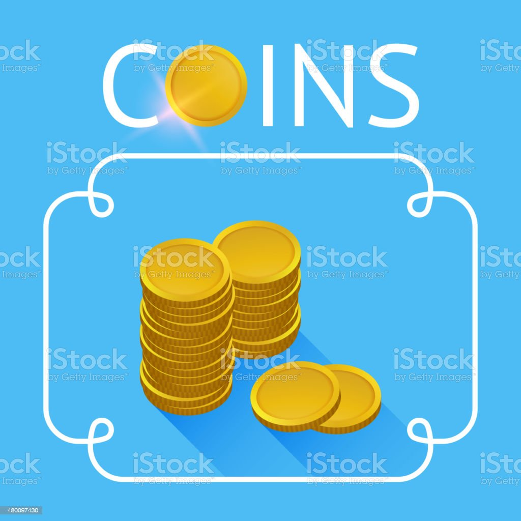Stacks of gold coins vector art illustration
