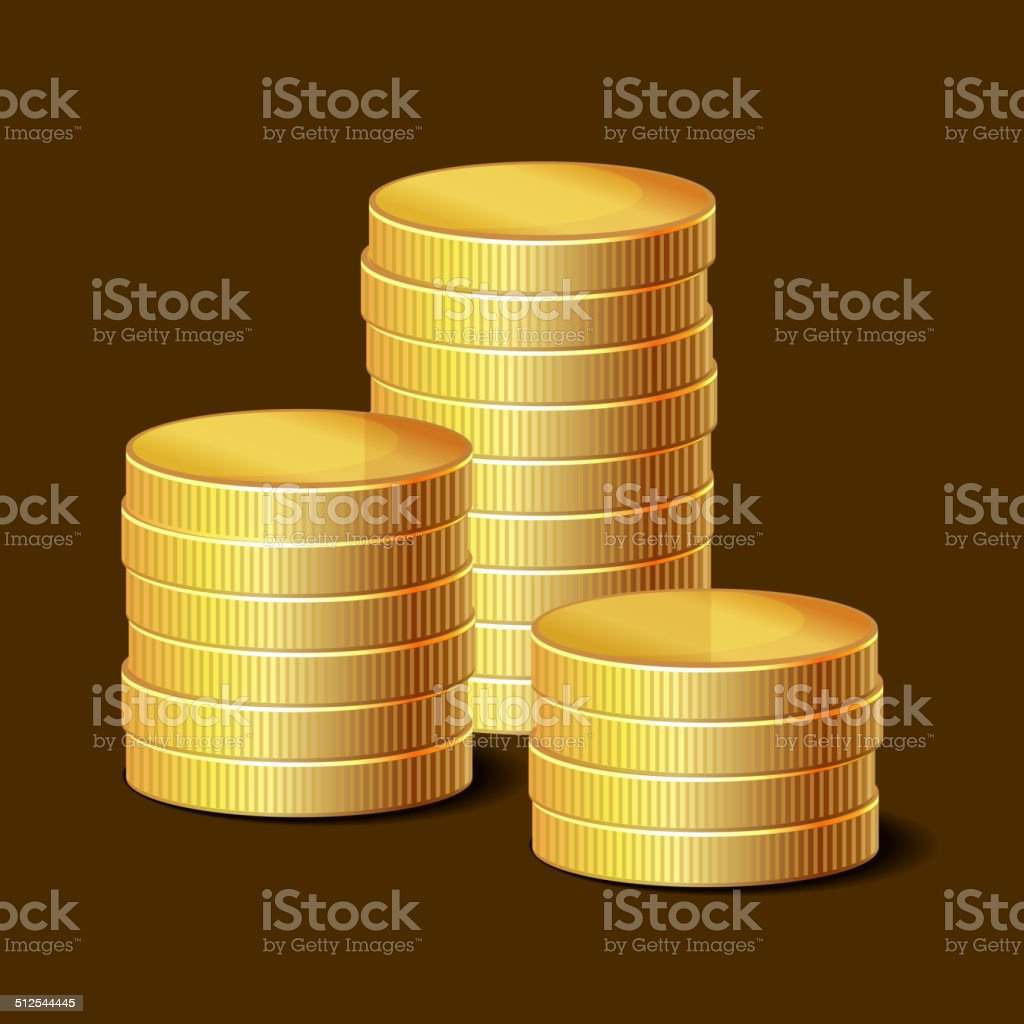 Stacks of Golden Coins on Dark Background. Vector royalty-free stock vector art