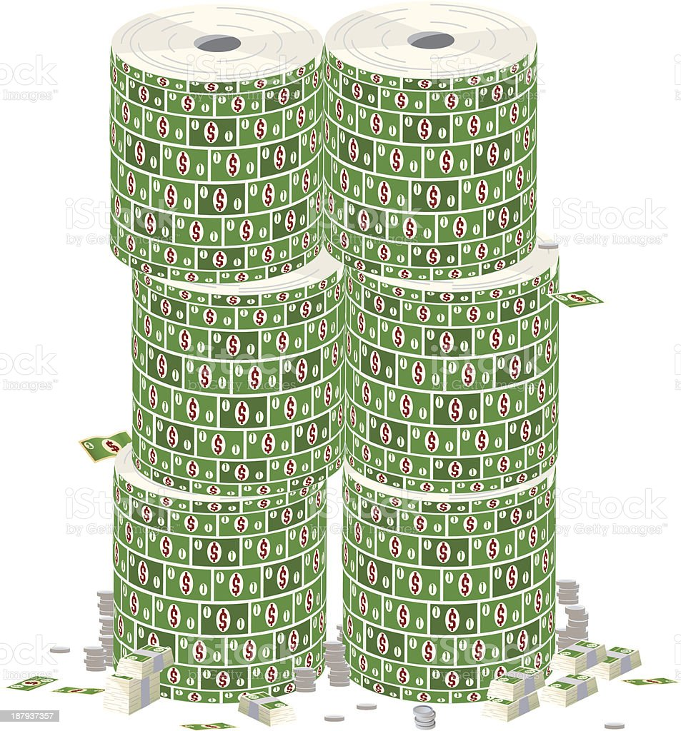 Stacks of Money vector art illustration