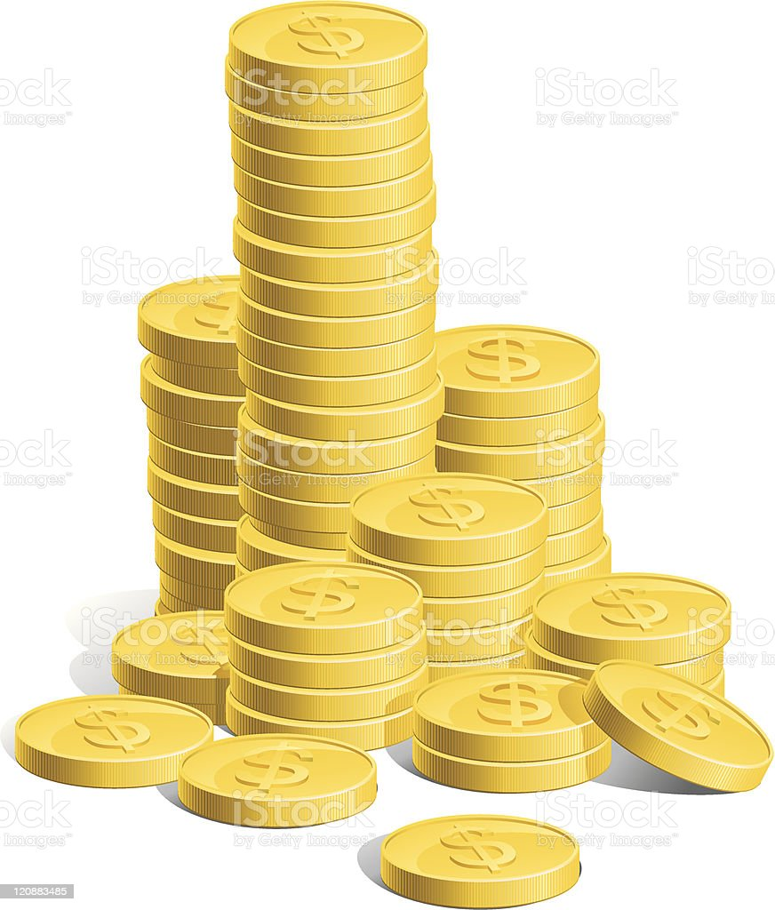 Stacks of money with dollar signs on royalty-free stock vector art