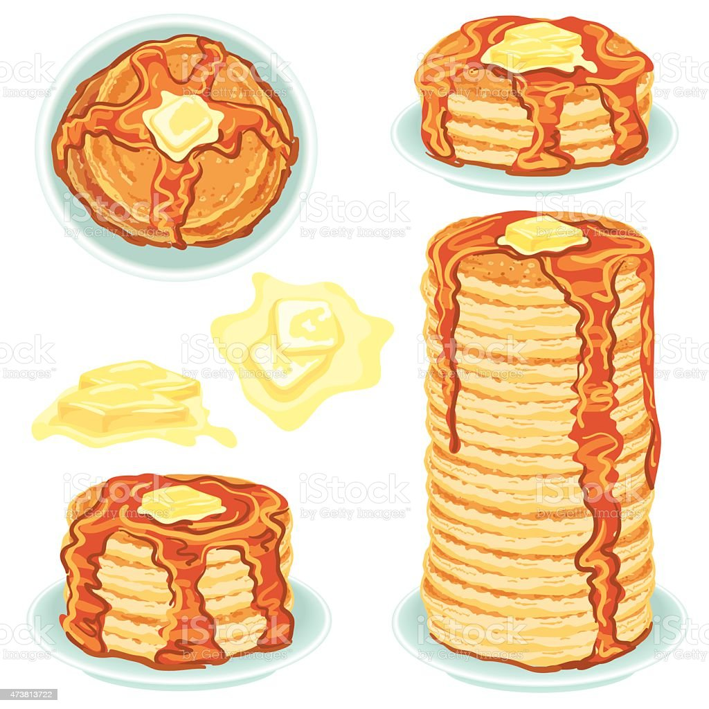 Stacks Of Pancakes With Butter And Syrup vector art illustration