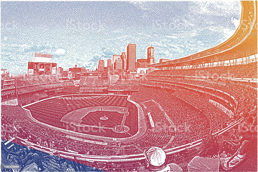 Stadium Crowd vector art illustration