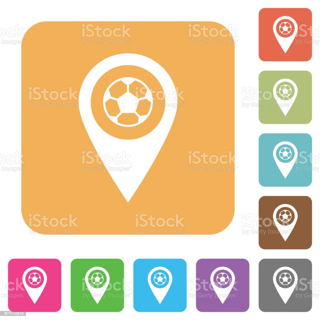 Stadium GPS map location rounded square flat icons vector art illustration
