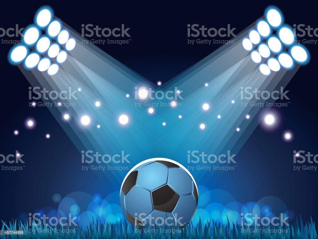 Stadium lights and soccer ball background vector art illustration