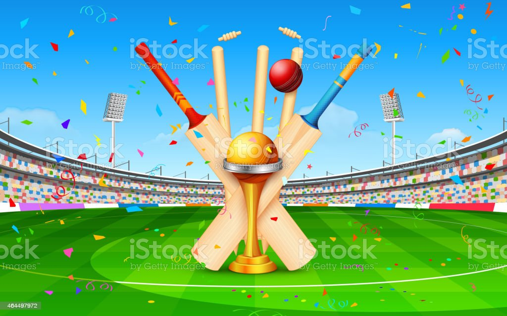 Stadium of cricket with bat, ball and trophy vector art illustration