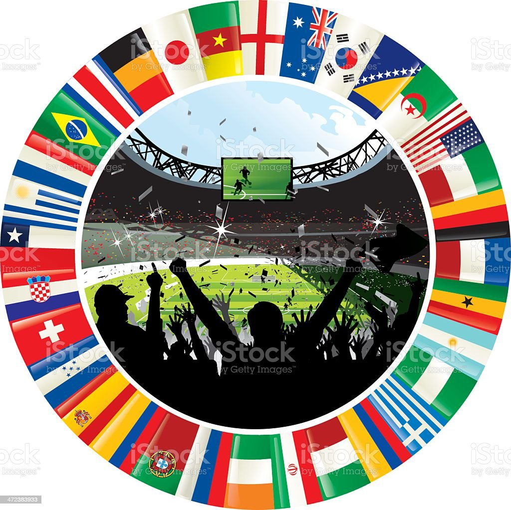Stadium Surrounded By Ring of World Flags Soccer Championship 2014 vector art illustration
