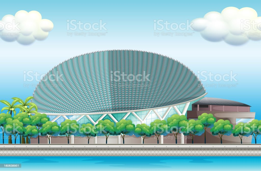 stadium surrounded with trees royalty-free stock vector art