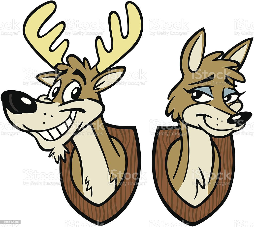 Stag and Doe vector art illustration
