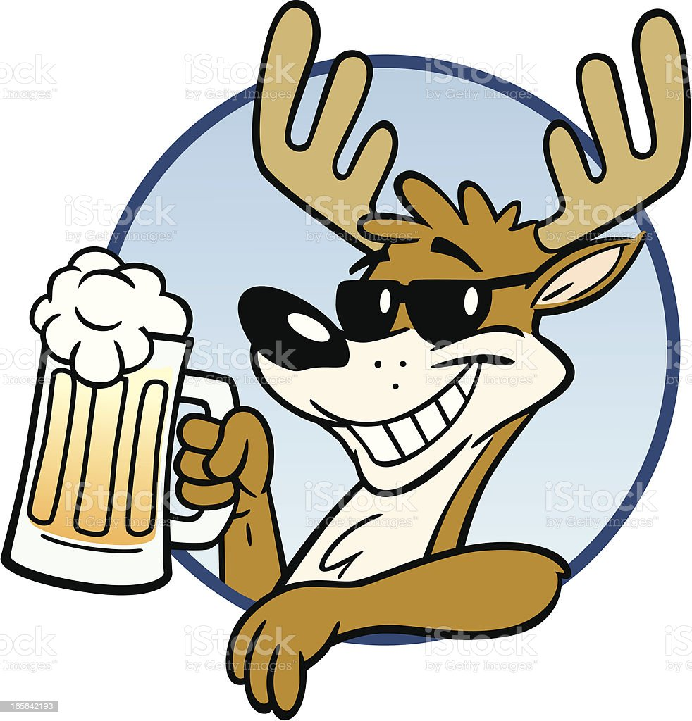 Stag With Beer vector art illustration