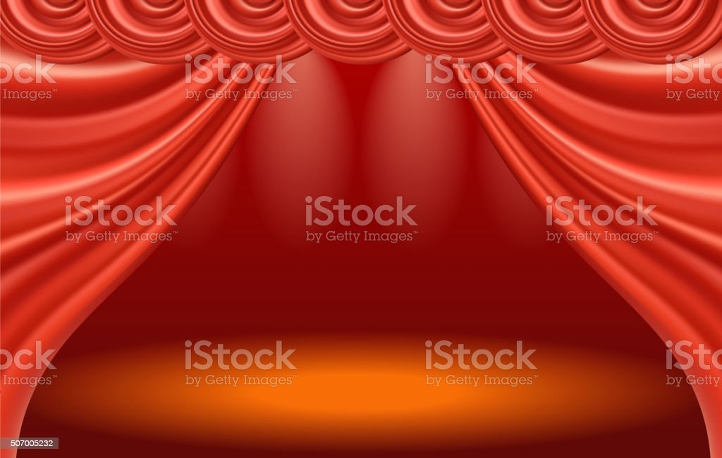 Stage and curtain vector art illustration