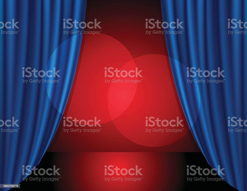 Stage background with blue color curtain vector art illustration