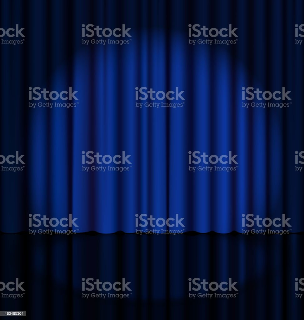Stage Curtain with Light Spot vector art illustration