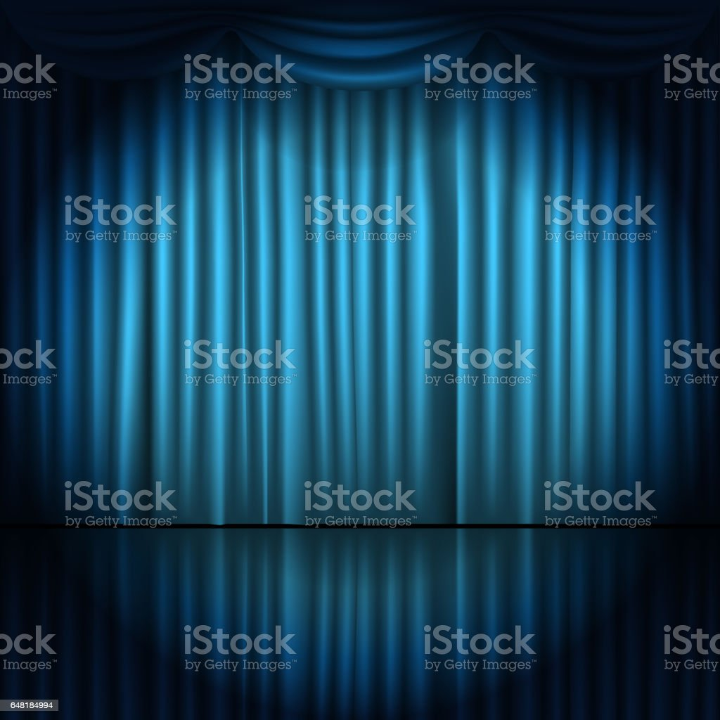 Stage curtains spotlight - Stage Curtains With Spotlight Vector Illustration Royalty Free Stock Vector Art