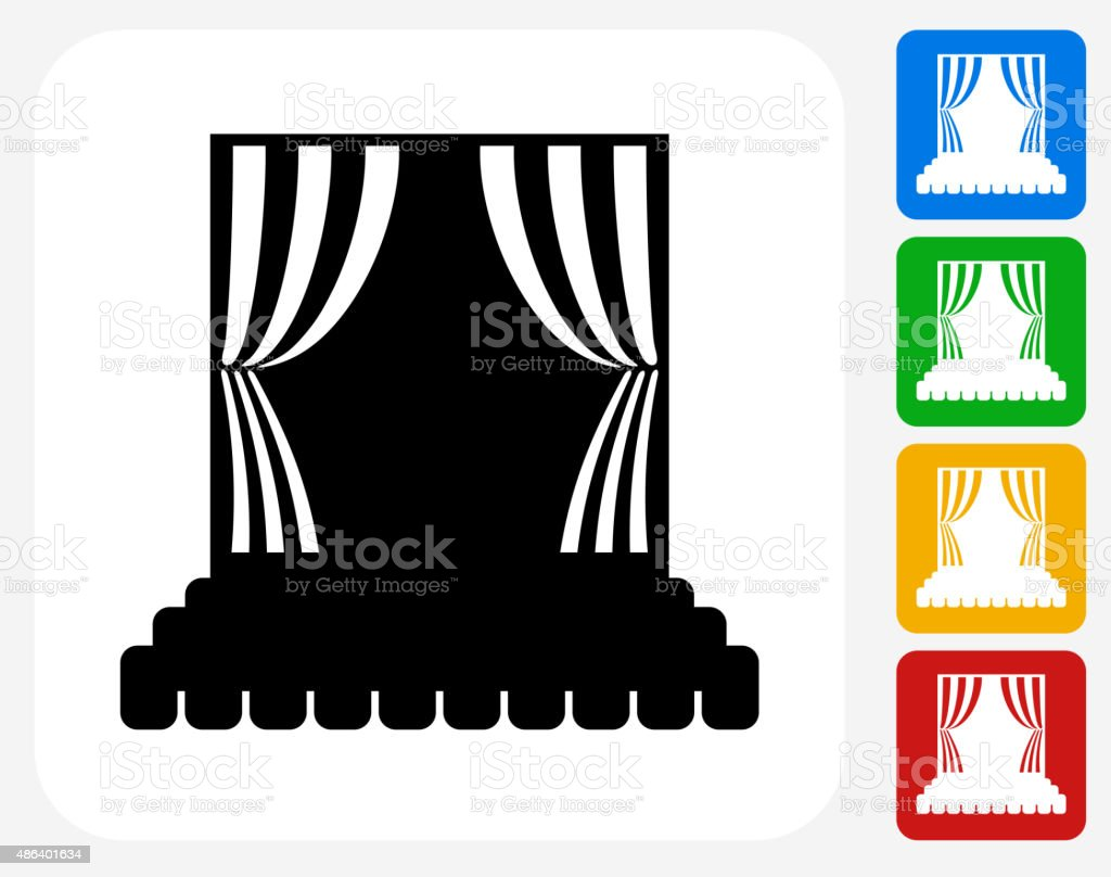 Stage Icon Flat Graphic Design vector art illustration