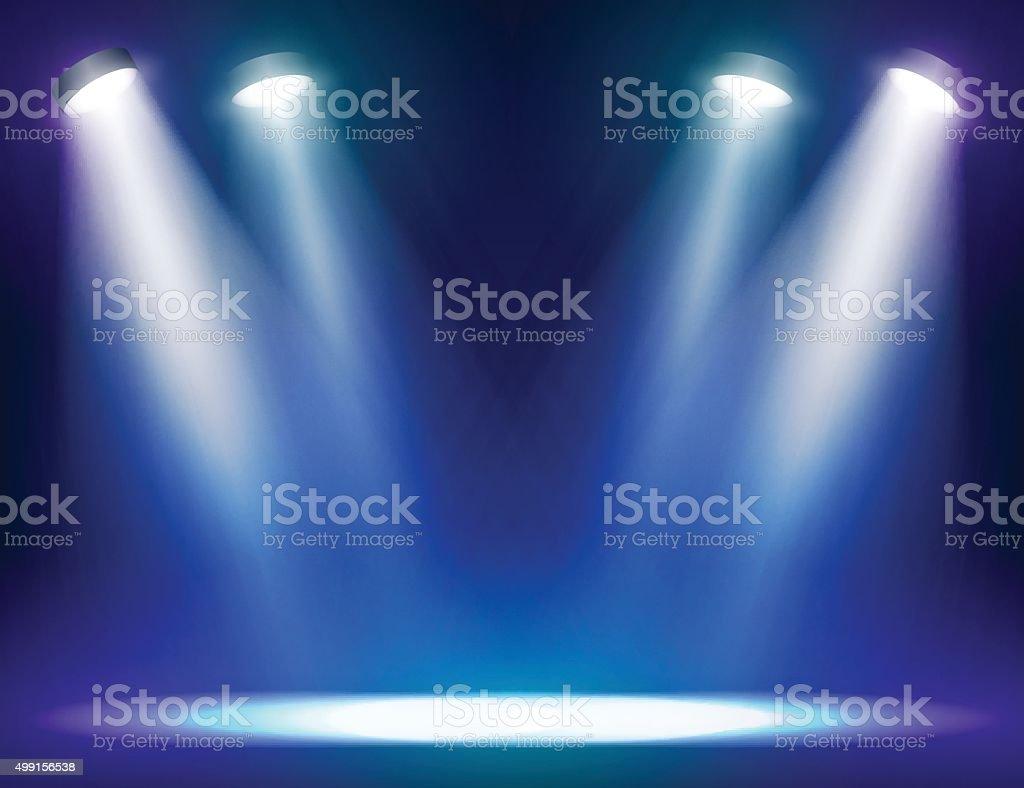 Stage lights background vector art illustration