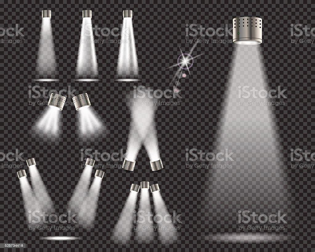 Stage lights, spotlights on transparent backgrund - vector illustration vector art illustration