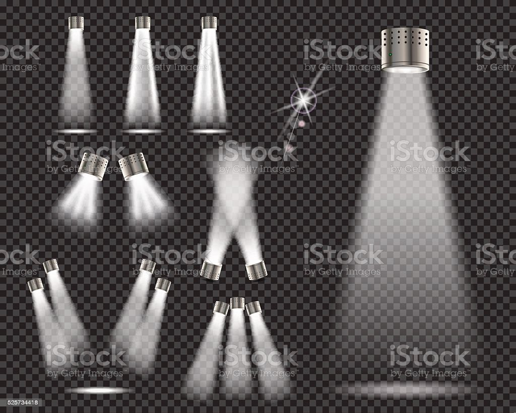 Stage lights, spotlights on transparent backgrund - vector illustration vector art illustration