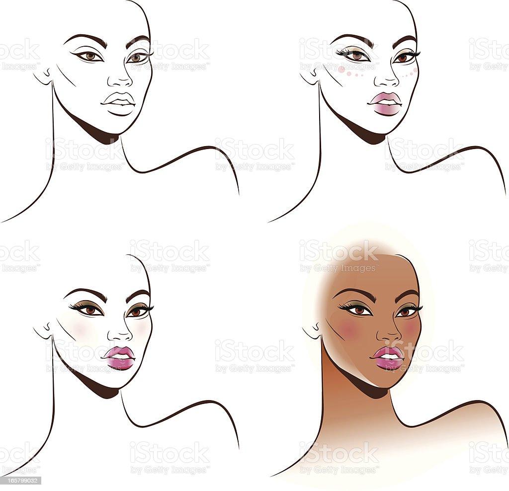 Stage makeup Africa vector art illustration