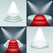 Stage podium set award ceremony illuminated 3d realistic design vector
