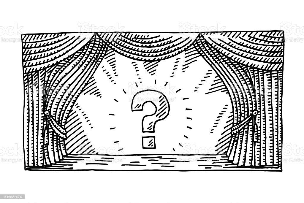 Stage Spotlight Question Mark Drawing vector art illustration
