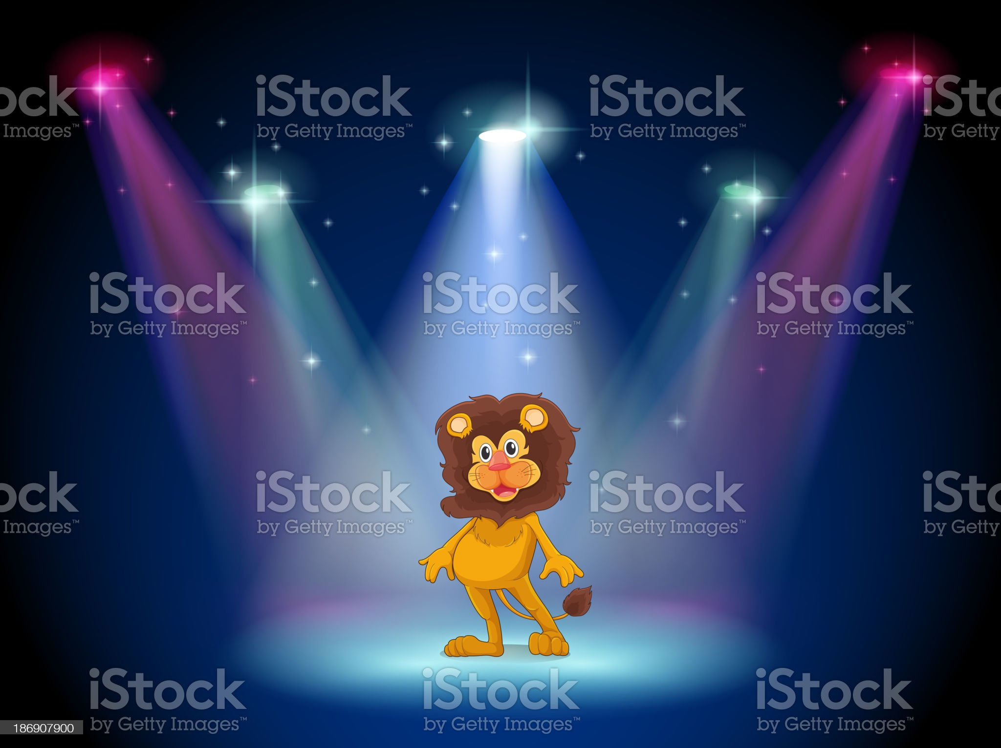 stage with a brave lion in the middle royalty-free stock vector art