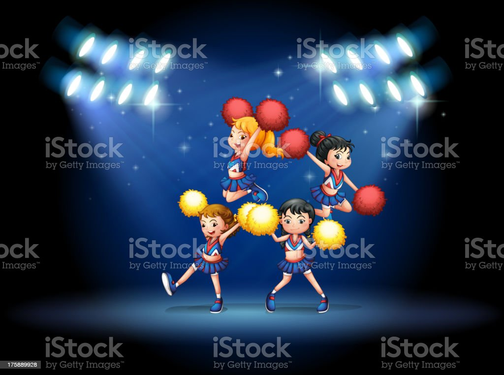 stage with a cheerleading squad royalty-free stock vector art