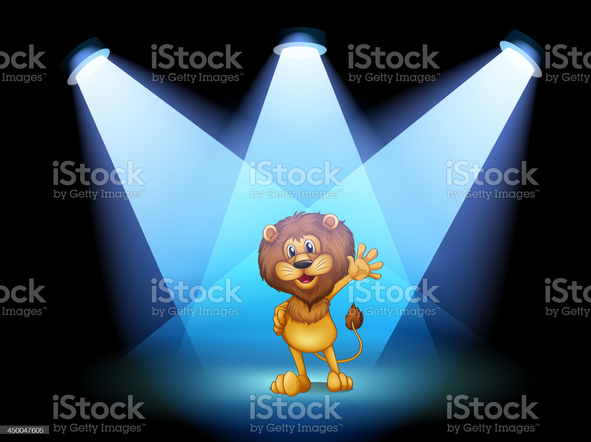 stage with a lion waving in the middle royalty-free stock vector art