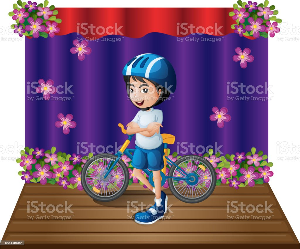 stage with a male biker standing in the middle royalty-free stock vector art