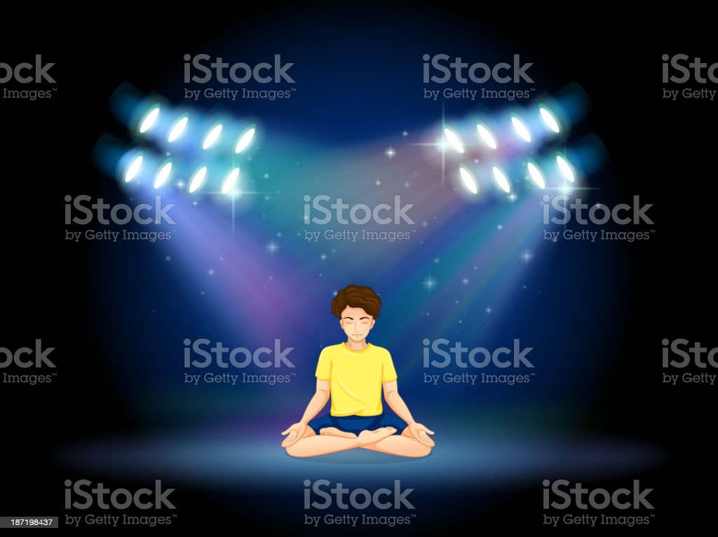 stage with a man doing yoga royalty-free stock vector art