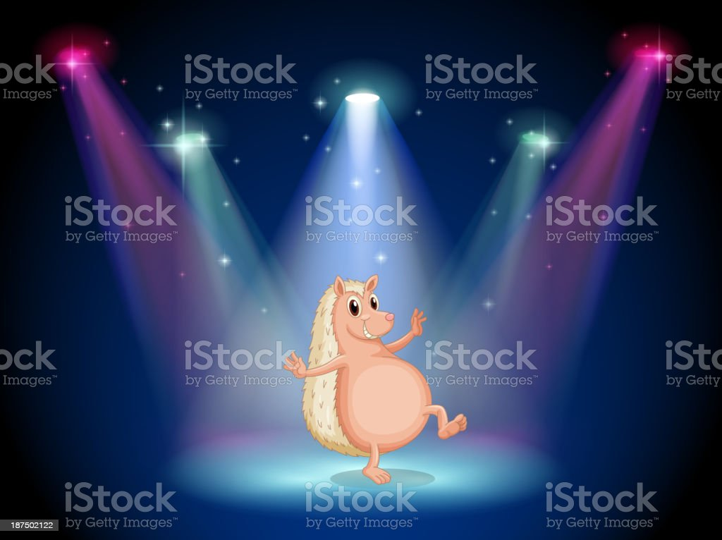 stage with a molehog dancing royalty-free stock vector art