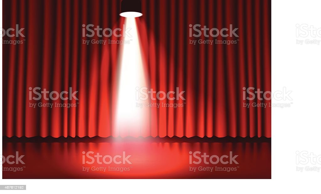 Stage with a red curtain royalty-free stock vector art