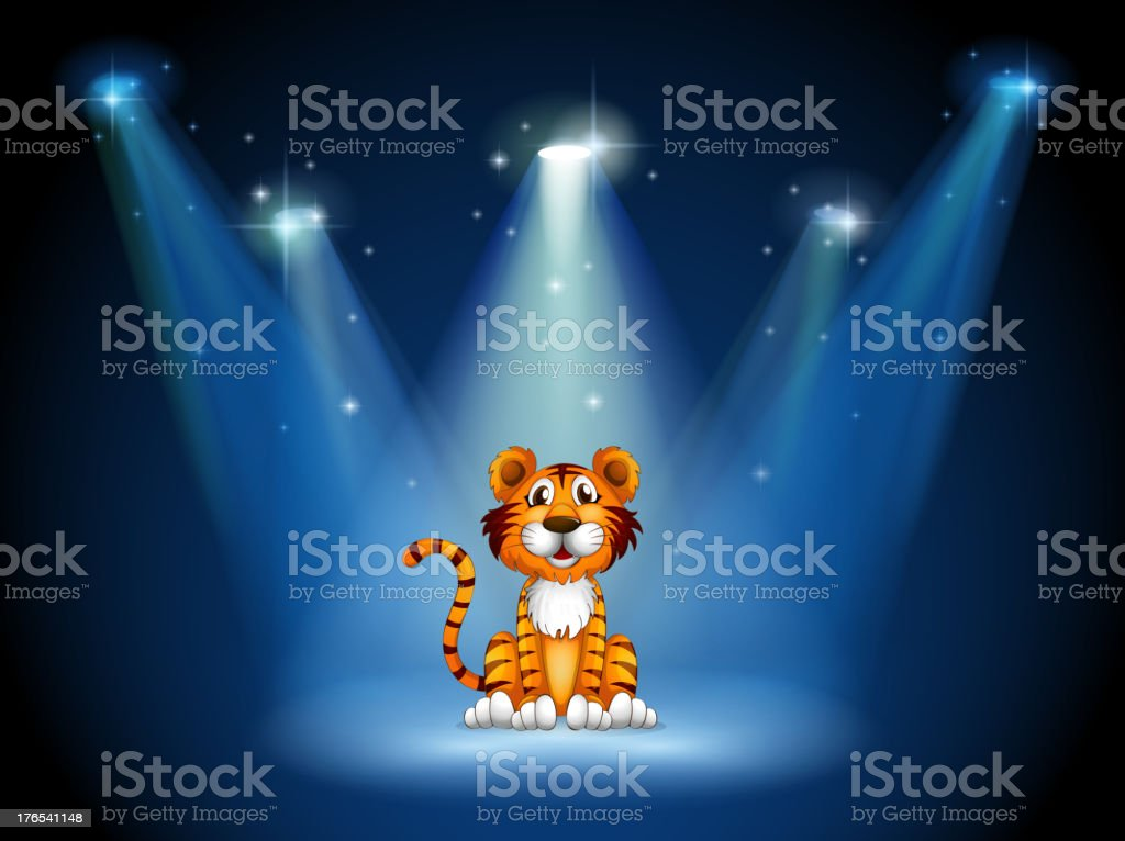 Stage with a tiger royalty-free stock vector art