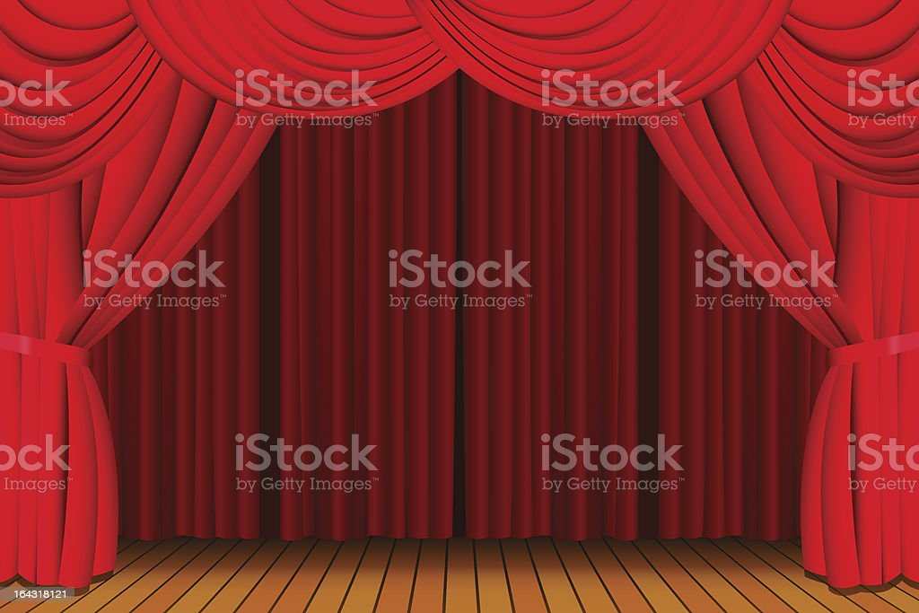 Stage with closed red curtain royalty-free stock vector art