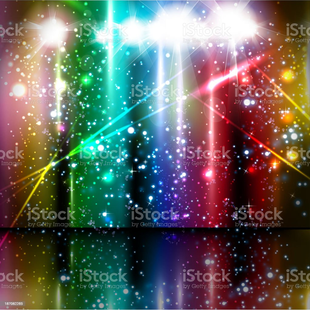 Stage with curtain and multicolored lights  royalty-free stock vector art