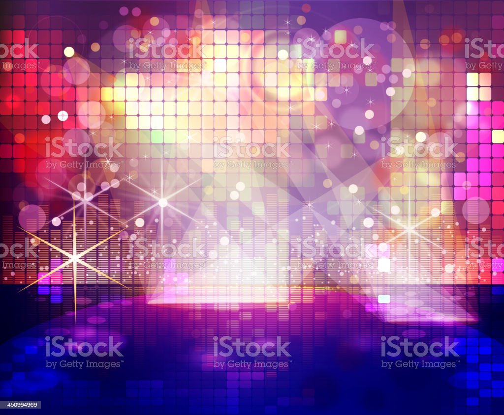 Stage with Flashy Disco Lights Background vector art illustration